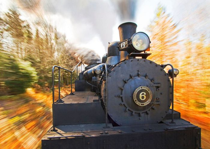 At Spruce, you'll change trains to one pulled by a historic coal-fired engine.