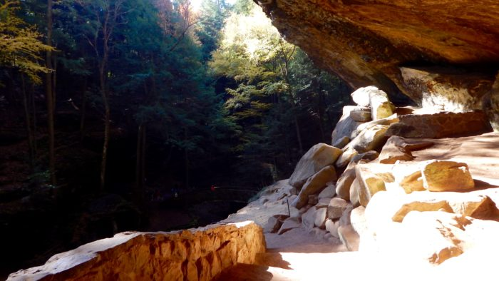 The overlooking view from inside Old Man's Cave is simply stunning.