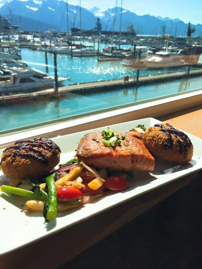 At the end of the day you can unwind with incredible views and wild, natural, sustainable Alaska seafood at Chinooks Restaurant located right on the main strip in town overlooking the harbor.