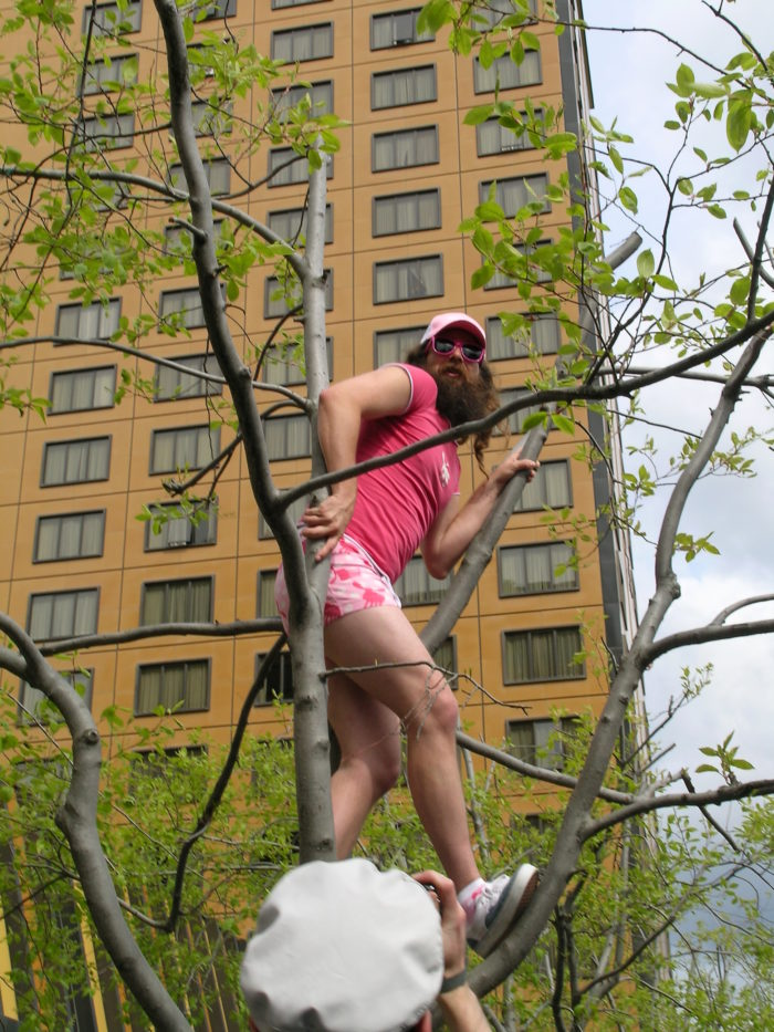Random spotting of men with beards in pink underwear lurking in the downtown trees of Anchorage.