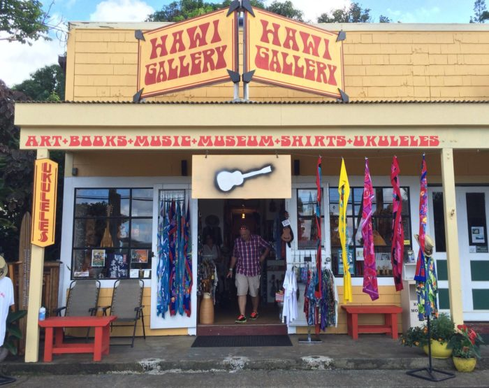 For shopping, art, and souvenirs: Hawi Gallery Art + Ukulele