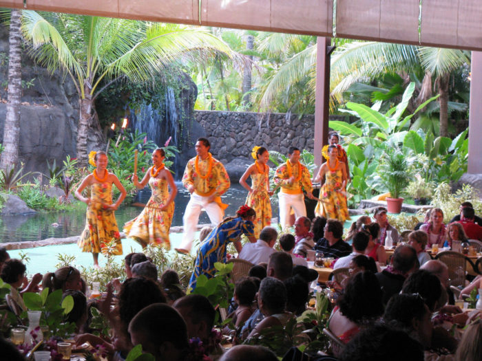 3. Hanging out at a luau.