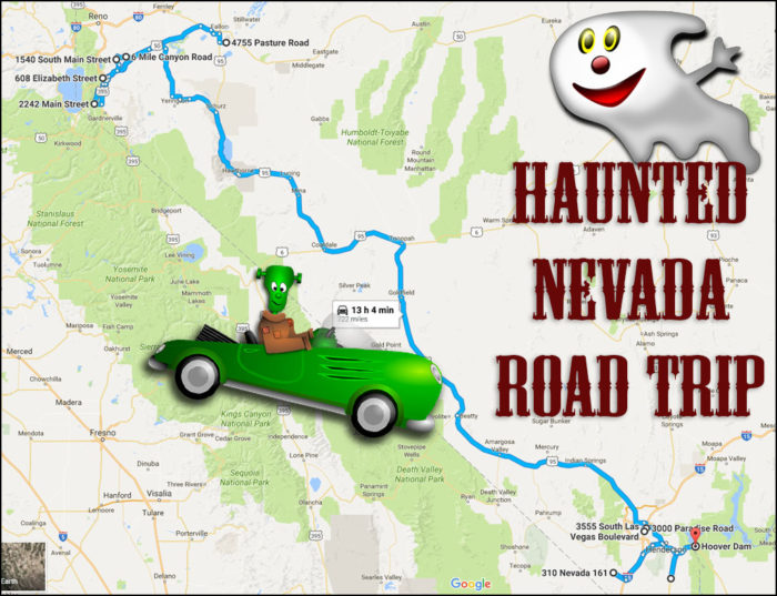 Haunted Nevada Road Map