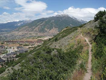 The Bonneville Shoreline Trail is currently about 100 miles long, and stretches from Ogden to Provo. The proposed trail will reach north all the way to the Idaho border, and south to Santaquin, for a total of 280 miles.