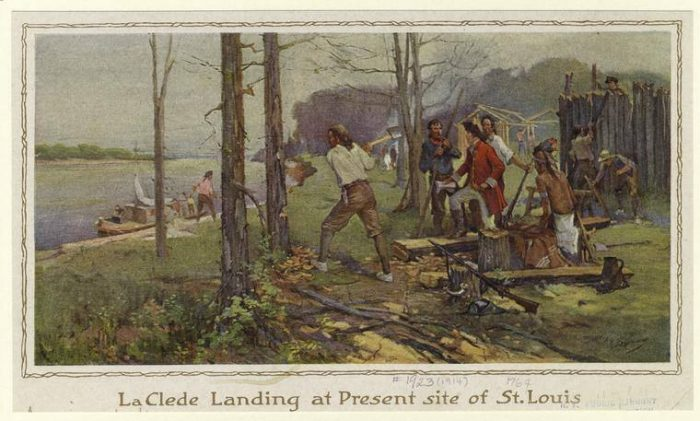 In 1764, Pierre Laclede and Auguste Chouteau founded a city here on what would later be called Laclede's Landing.