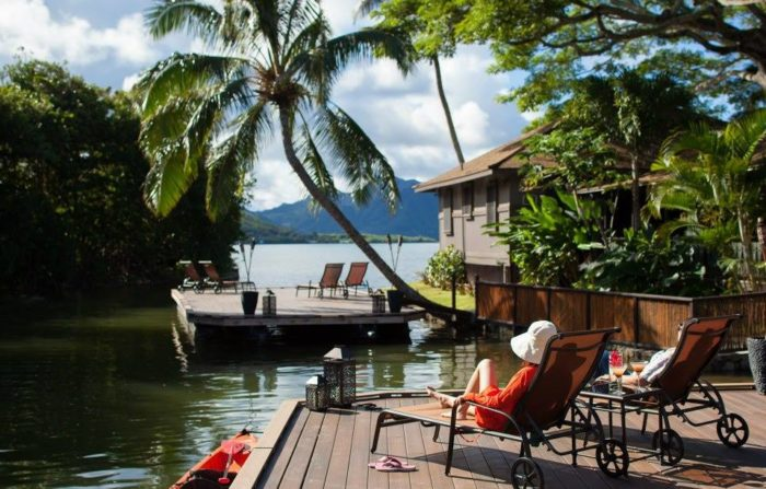 ...or sip coffee or do yoga on one of the resort's stunning floating docks...