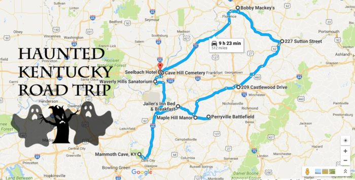 The Haunted Road Trip That Will Lead You To The Scariest Places In - Road map of kentucky