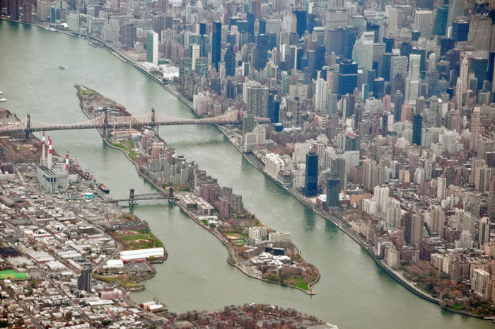 Right on the river with views of Manhattan, Roosevelt Island is reached by train or the tram.