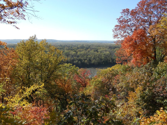 Enjoy a fall hike at Weston Bend State Park.