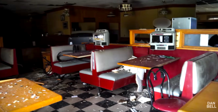 The snack bar is still furnished with retro booths and old products.