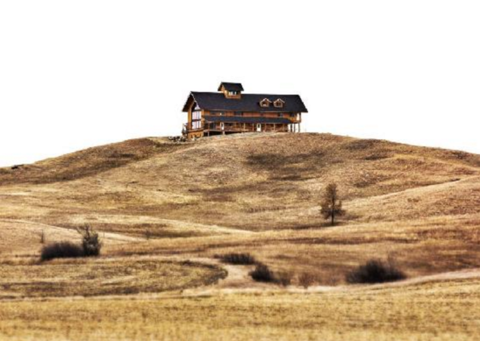 The lodge sits on a perfect vantage point to see the vast prairie around it.