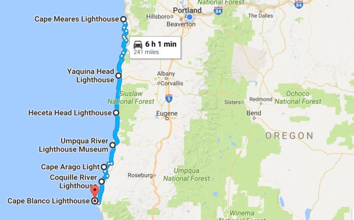 Lighthouses In Oregon Map.Take A Beautiful Lighthouse Road Trip On The Oregon Coast