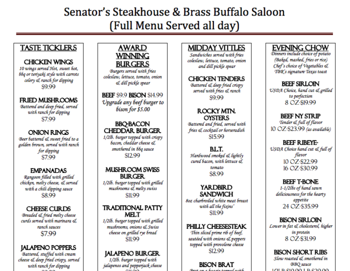 Jalapeno bottlecaps or the Spinach Artichoke Bread Bowl are two of the most popular starters at the Senator's.