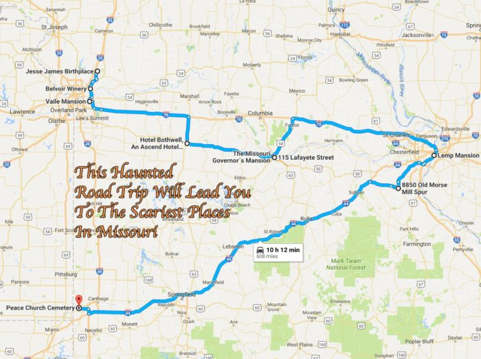 Most Haunted Places In Missouri - Missouri road map