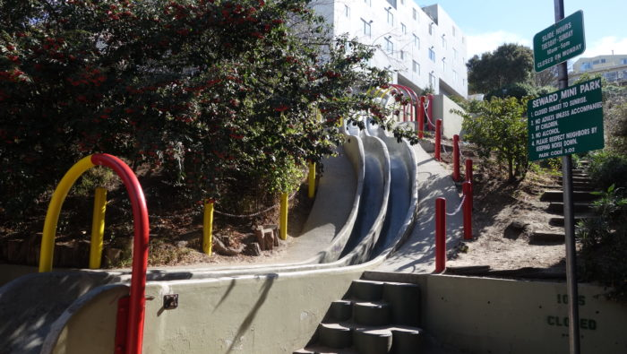 The slides are in Corwin Community Garden and Seward Mini-Park at the intersection of Seward Street and Douglass Street.