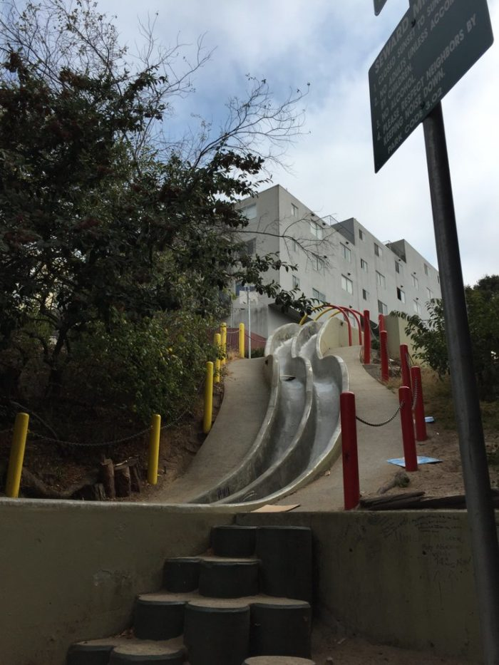 The slides are short and quite steep, but it's not dangerous because the sides are too high to fall out.