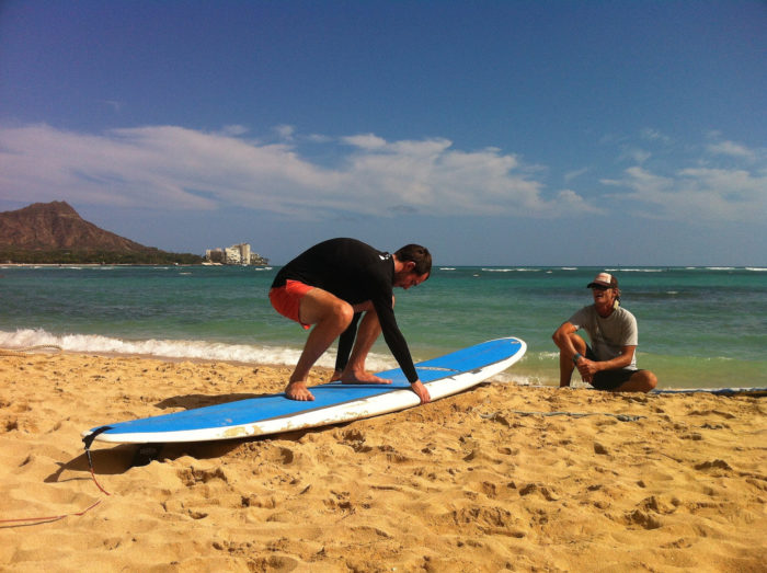 6. Taking a surf lesson.