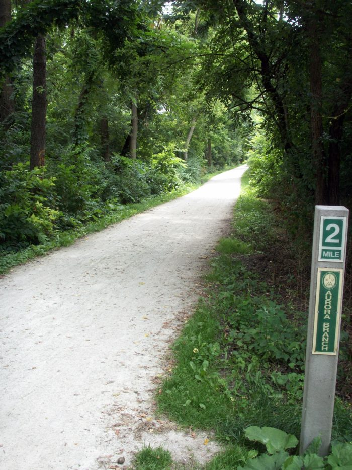 There is a 17 mile main branch of the trail that begins in Wheaton.