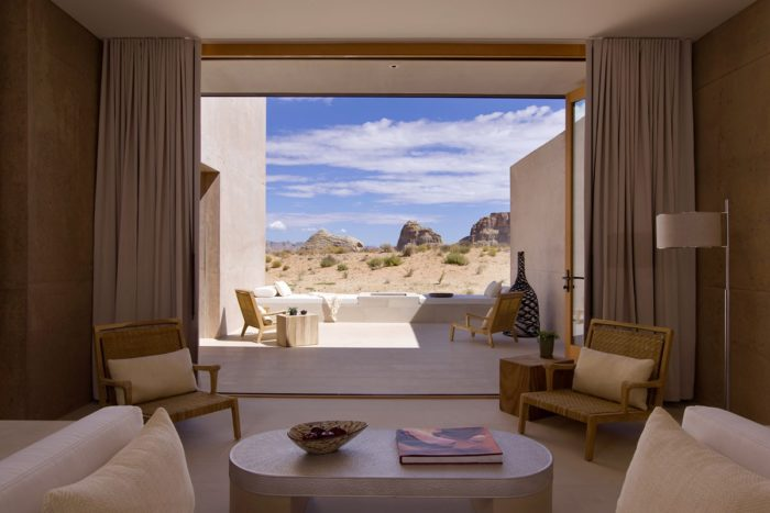 The Amangiri Suite offers 3,472 square feet and includes a private lap pool, an indoor/outdoor living area, private sky terrace, and king-sized bed.