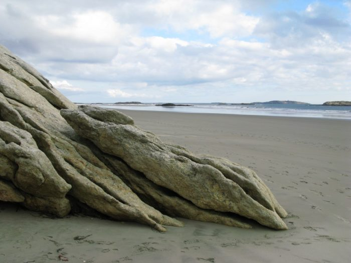 Down on the beach, you'll find soft sand and hard rock features – a Maine specialty.