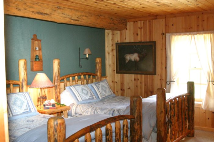 You can stay in one of their eight rustic cabins or in one of their seven rooms in the 100 year old historic lodge. Each of the cabins and rooms in the lodge are individually named and decorated.