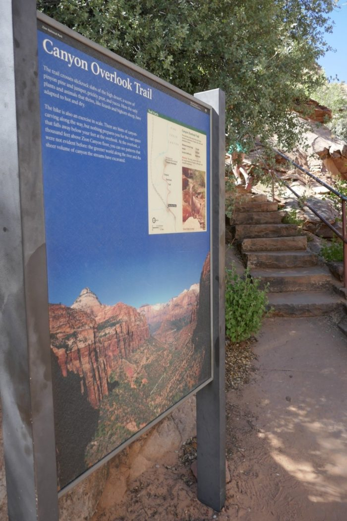 The trailhead starts just past the east entrance to the Zion-Mt. Carmel Tunnel. You'll start by climbing a few short sections of stairs.