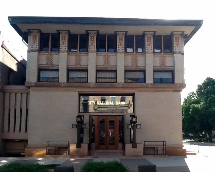 Originally built in 1910, The Historic Park Inn Hotel and City National Bank are adjacent buildings that were both designed in the Prairie School style by Frank Lloyd Wright.