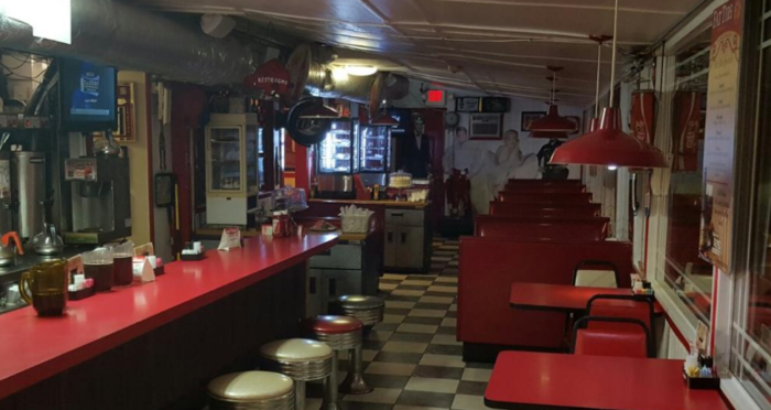 From the counter to the stools, the interior of this little drive-in sends you back in time.