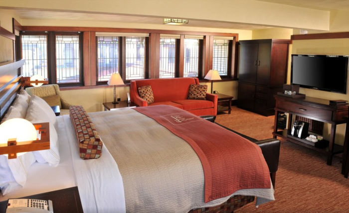 They also added modern amenities to make visitors' stay as convenient and comfortable as possible, with wi-fi, flat-screen T.V.s, a fitness center and more. The guest rooms continue the hotel's unique architectural details throughout.