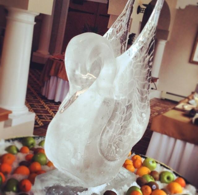 And there's always an ice sculpture surrounded by fruit and yogurt.