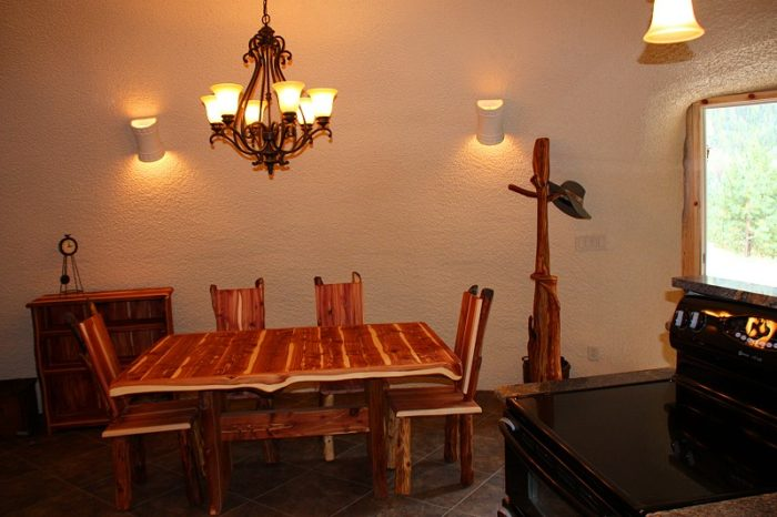 ... or play a game with your shire-mate at the handmade wood table.