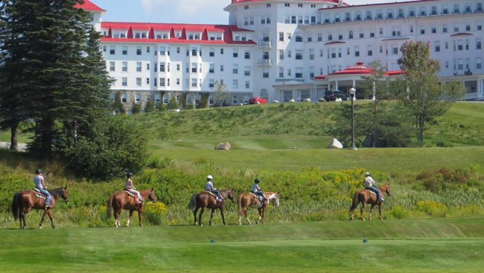 The Bretton Woods stables provides guests the chance to horseback ride through the White Mountain National Forest.