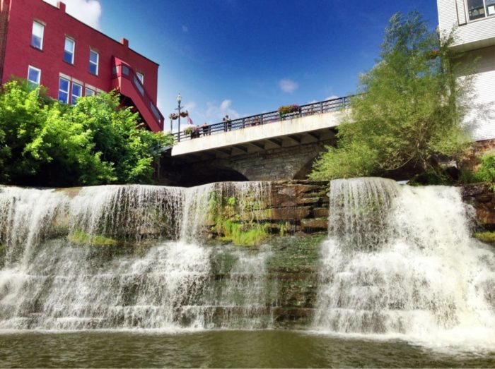 It's actually located right in front of the beloved Chagrin Falls, which is another must-see landmark for visitors passing though.