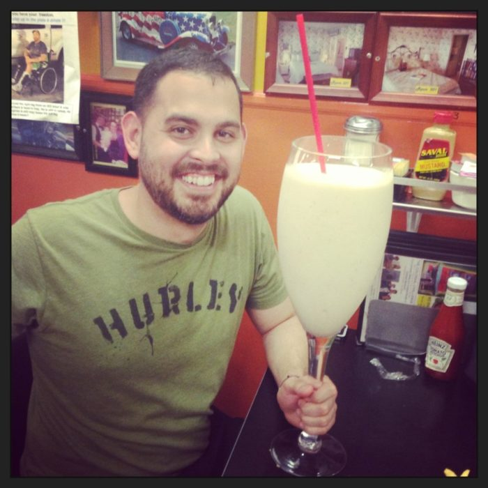 Feeling brave (and extra hungry)? Chick & Ruth's has four colossal food challenges, including this 6-pound milkshake.