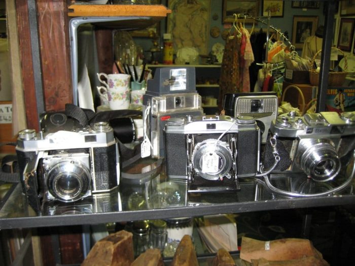 There are plenty of antique gadgets, electronics and contraptions lining the shelves of this barn.