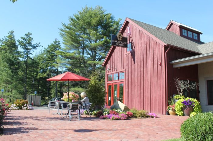 Makepeace Farms Café is tucked away in a beautiful red barn.