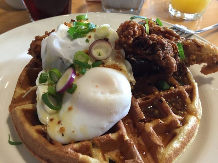 In November Farm Bistro will begin offering Sunday Brunch that is truly delicious, like this chicken and waffle dish with quail eggs.