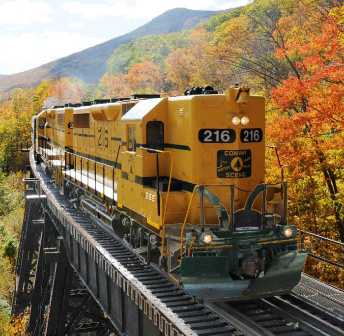 The Pumpkin Patch express, run in a historic train, will take you through breathtaking New Hampshire scenery on the way to the pumpkin patch.