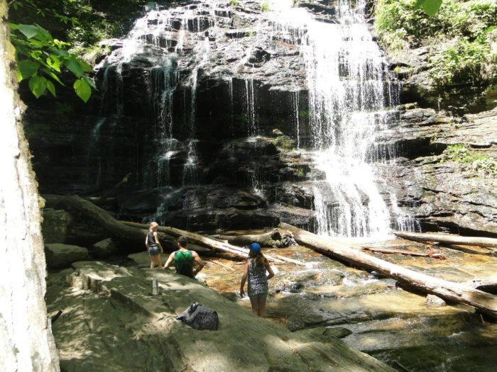 The site includes a trail to a beautiful waterfall, Station Cove Falls, which is also picture perfect in the fall!