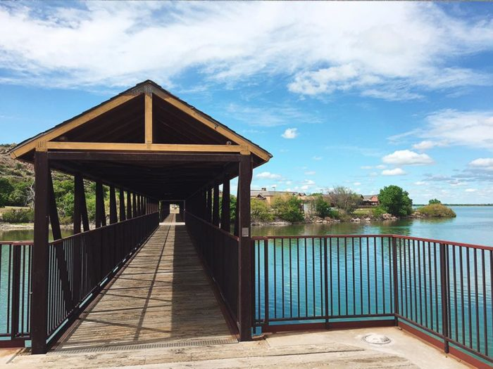 There is a covered bridge that takes you across the lake to many more places to explore.