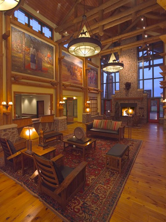 The inside lodge is decorated with rustic elegance and cozy fireplaces.
