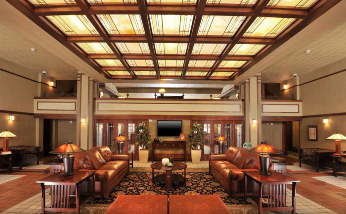 The elegance and simplicity of Frank Lloyd Wright's design aesthetic was beautifully maintained in the hotel's extensive 18 million dollar interior and exterior renovation.
