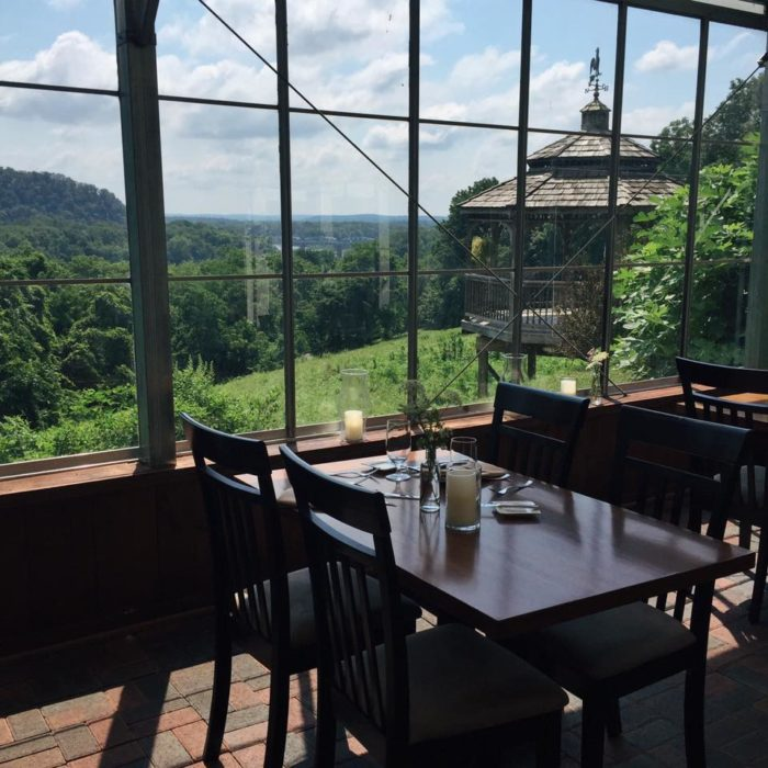 As you dine, you can enjoy the gorgeous views in the floor to ceiling windows inside the glass conservatory.