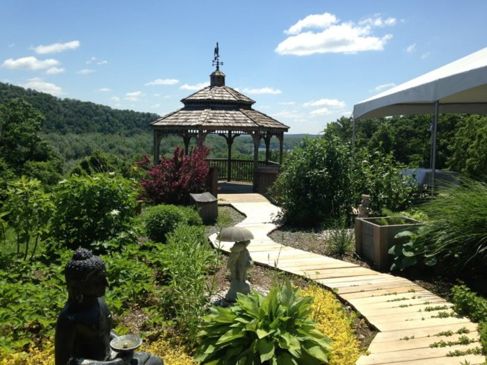 The charming gazebo is the perfect place for snapping some photos or relaxing after your meal.