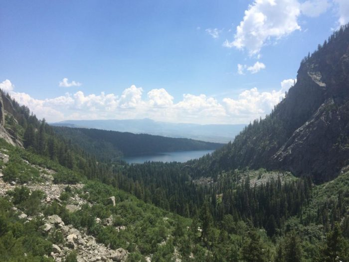 One mile into the hike is Phelps Lake Overlook. Be sure to take a minute and enjoy the panoramic views from here.