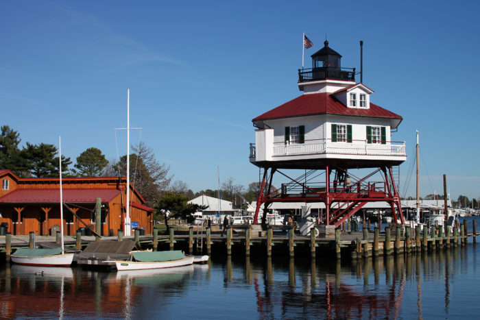 Today, you can visit historic buildings that represent the town's history, such as the Drum Point Lighthouse which was built in 1883 and is one three remaining lighthouses that were originally located around Chesapeake Bay.