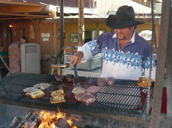 The grill is attended by a cowboy chef, who keeps a close eye on your steak or burger, and grills up your toast, too.