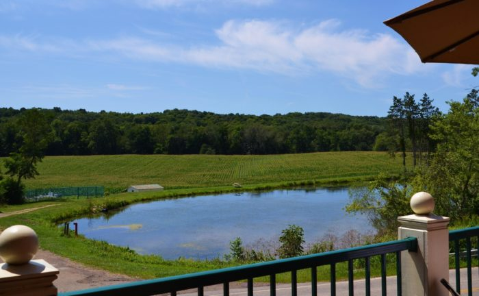 In the warmer months, outside seating is available and the view from the deck is unbelievably beautiful.