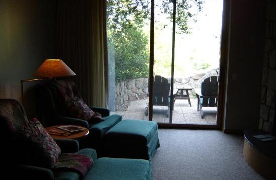 The suites also feature secluded rock-lined patios right outside sliding glass doors...