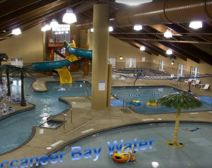 There are plenty of activities to keep you entertained, including a pirate-themed indoor water park, boat rentals, a championship links style golf course, a playground, biking, hiking and more.